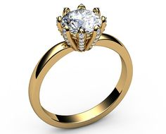 Classic Engagement Ring with One Carat Diamond in the Center set in 8 prongs and each of them is set with Diamonds of the best quality D,E VVS, all together 36 diamonds surrounding the Center Diamond. Amazing design for an Exclusive feeling  Setting:  Metal type: 18K Yellow Gold  Setting type: 8 Prong setting  Weight: 3.3 gram  Main stone:  Stone type: 100% Natural Diamond  Shape: Round cut Brilliant  Minimum Weight: 1.00 carat  Color grade: H  Clarity grade: SI-1  Cut: Very Good-Excellent…