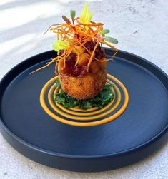 Foodstar Richard Knott ( shared a new image on Foodstarz /// Roasted Sweet Potato/Fennel/Bleu Cheese Croquette, Cran-… Gourmet Food Plating, Gourmet Desserts, Plated Desserts, Food Plating Techniques, Apple Chutney, Best Chef, Food Decoration, Roasted Sweet Potatoes, Appetisers