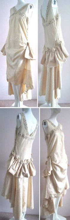 ~Dress, French, ca. 1920s~ Cream-colored lightweight silk moiré with large self-roses on hips & back above ruffle. Shoulders, back, & upper bodice of net with cream-colored glass beads and rhinestones. Escape To Elegance/Ruby Lane by chasity