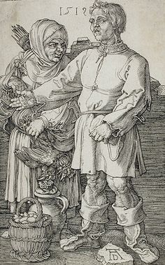 For Sale on - The Peasant and His Wife at Market, Engraving by Albrecht Dürer. Offered by Christopher-Clark Fine Art. Albrecht Dürer, Maleficarum, Landsknecht, Art Base, Italian Artist, Renaissance Art, Old Master, British Museum, Portraits