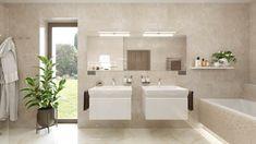 Elegantná moderná kúpeľňa Corner Bathtub, Bathroom Lighting, Mirror, Furniture, Home Decor, Bathroom Light Fittings, Bathroom Vanity Lighting, Decoration Home, Room Decor
