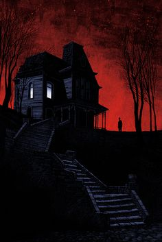scary art red blood creepy sky vintage classic horror black old stars colorful alfred hitchcock color spooky arts freaky psycho Ed Gein vintage horror terrifying