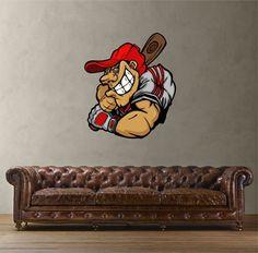 cik421 Full Color Wall decal Baseball bits sports sportsman bedroom living room
