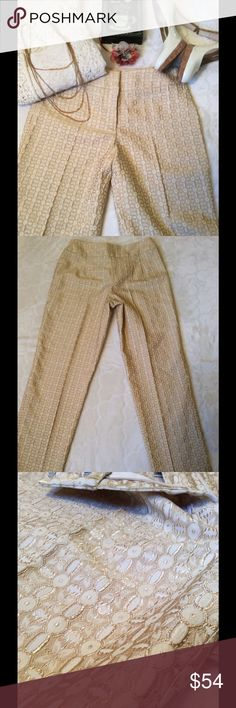 NWT Talbots Collection Gold Dress Pants Talbots Collection NWT $138.00 Size 8 40% Polyester 39% Acetate 20% Nylon 1% Spandex Made of Italian Fabric 1button Double Hook closure Gold and Cream color Waist laying flat is 16in Under bottom of zipper laying flat across 19 1/2 in (Hips) Inseam is 28in 7 1/2 bottom opening Front rise 10in Back is approx. 12in Talbots Pants Ankle & Cropped
