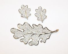 Vintage Brooch and Earrings Leaf Sarah Coventry Silver Tone Wedding Bridal Party Jewelry Jewellry Gift for Her Christmas Birthday