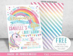 Unicorn Birthday Invitation, Rainbow Invitation, Magical Invitation, Unicorn Invitation, Rainbow Birthday Invite Printable, Unicorn Party