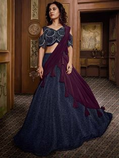 Indian beautiful party wear lehenga navy blue color fancy fabric and wine color net dupatta. Designer new indian designer lehenga choli ethnic party evening wedding wear dress for women and girls. Lehenga Choli Online, Bridal Lehenga Choli, Silk Lehenga, Silk Dupatta, Navy Blue Lehenga, Choli Designs, Blouse Designs, Party Wear Lehenga, Cold Shoulder Blouse