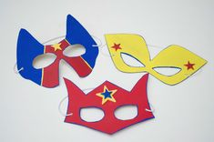 ideas for simple crafts. these are fancy but we could simplify it. Batgirl, Superhero Mask Template, Market Day Ideas, Hero Crafts, Sand Crafts, Crafts For Kids To Make, Kids Crafts, Super Hero Costumes, Camping Crafts