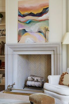 herringbone fireplace - Google Search