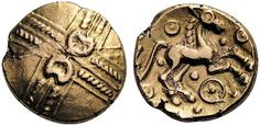 Catuvellauni. Addedomaros, c. 45-25 BC. Stater (Gold, 18mm, 5.57 g). Crossed wreaths with two crescents back to back at the center. Rev. [ADDIIDOM] Horse to right; below, wheel; above and below, pellet within annulets and pellets. ABC 2514. BMC 2930. VA 1605. Legend mostly off the flan as usual, otherwise well centered and struck on a large flan. Good very fine