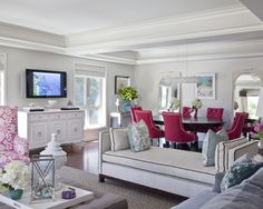Living room with a pop of pink!