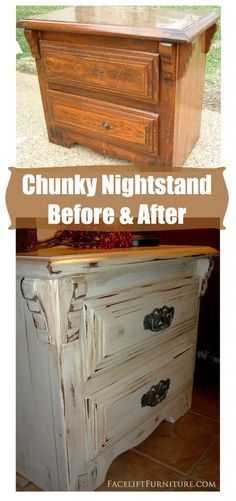 Antiqued White Chunky Nightstand ~ Before & After. The first time I ever used glaze on painted furniture. From Facelift Furniture's DIY Blog.