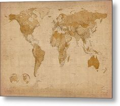 World map black and white metal print by mb art factory cool items world map antique style metal print by michael tompsett gumiabroncs Images