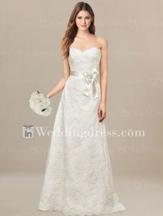 Delicate Lace wedding gown is soft and feminine. The fine Lace of this slim gown scallops the neckline and the hem.