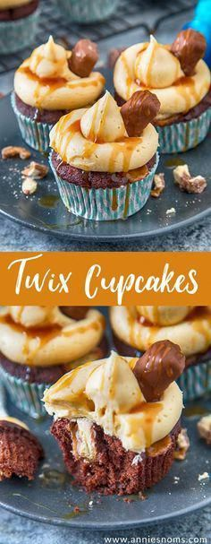 These Twix Cupcakes are out of this world amazing! A soft, rich chocolate cupcak… These Twix Cupcakes are out of this world amazing! A soft, rich chocolate cupcake filled with bits of Twix and topped with caramel frosting and sauce! Twix Cupcakes, Frost Cupcakes, Chocolate Cupcakes Filled, Yummy Cupcakes, Filled Cupcakes, Twix Cake, Simple Cupcakes, Amazing Cupcakes, Twix Cookies