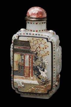 Chinese Jade snuff bottle with applied semi-precious stones in the form of a pomegranate tree. Qing dynasty 1644–1911 http://www.mfa.org/collections/object/jade-snuff-bottle-with-applied-semi-precious-stones-in-the-form-of-a-pomegranate-tree-247643