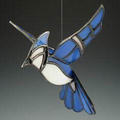 Blue Jay Suncatcher 3D Stained Glass Bird by AngelasGlassStudio, $28.00