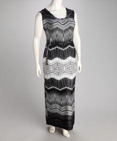 8484ccd30b1 Olivia Matthews Black   White Zigzag Tie Plus-Size Maxi Dress