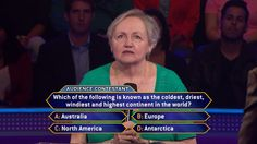 """Friday, studio audience member Mary O'Keefe searches for a continent that's worth $1,000 to her on an all-new #MillionaireTV. Will she end the week by becoming a thousandaire? Don't miss Friday's """"Millionaire"""" with host Chris Harrison and find out. Go to www.millionairetv.com for time and channel to watch."""