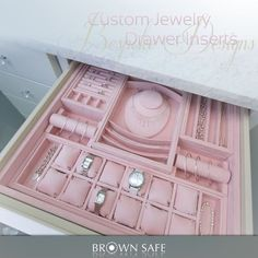 Ultrasuede lined jewelry drawer inserts to organize your jewelry collection. Custom jewelry tray with neck form display, watch pillows, ring holders, bracelet and necklace compartments.