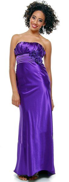 Strapless Satin Purple Bridesmaid Dress Rose Flower Empire Pleated Bodice Long Gown