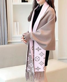 Sleeved Wool WrapGender: WomenMaterial: SilkColor: Brown/Pink,Grey/Pink, Black/Grey, Red/Grey, Blue/RedSize: Design: Wrap with Batwing Sleeves Mode Outfits, Fashion Outfits, Womens Fashion, Ladies Fashion, Classy Outfits, Stylish Outfits, Lv Scarf, Givenchy, Red Shawl