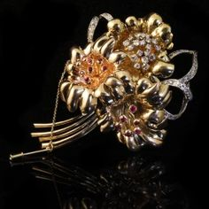 Vintage 14 K yellow, rose and white gold diamond and ruby brooch. $6,000. Haig's of Rochester Fine Jewelry & Objects of Art, Rochester, MI. #Gatsby