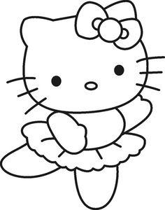 ausmalbild Kleine ballerina Hello Kitty