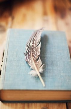 book and feather.