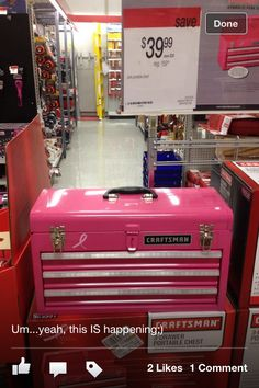 Love my new tool box, especially with the chevron shelf paper I added;) Pink Craftsman breast cancer toolbox. $39.99 @ Sears