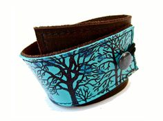 Tree Silhouette Wrap LEATHER Cuff Brown, Turquoise