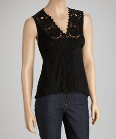 Take a look at this Black Crocheted Sleeveless Top by Papillon Imports on #zulily today! $24.99, regular 44.00