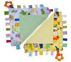Handmade Baby Teething Cloths, 2 Pack, by Zoomy Baby - Super soft, high quality cotton, soothing for infant's gums. Soft textures. Ribbon Tags provide sensory experience for babies. Ring on each blanket. (Compare to Taggies)