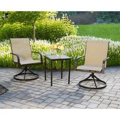 Mainstays Square Tile 3-Piece Outdoor Bistro Set, Seats 2 Mainstays http://www.amazon.com/dp/B00JWQNBAE/ref=cm_sw_r_pi_dp_dmUStb1HZ0C651HN