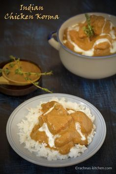 Chicken kurma recipe with step by step pictures. It is a low fat thick gravy based curry prepared using yogurt, coconut milk, almond and ground spices. Chicken Curry, Chicken Korma Recipe, Kurma Recipe, Korma Recipe Indian, Healthy Chicken Recipes, Cooking Recipes, Healthy Dinners, Cooking Tips, Chicken Salad Recipe With Almonds