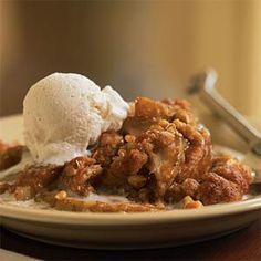 Pear Crisp---Cinnamon-spiced pears bake under a crunchy streusel topping in this easy pear crisp. Assemble the dessert ahead of time, and put it in the oven when guests arrive. Or bake it earlier in the day and serve it at room temperature. Serve with low-fat vanilla ice cream.