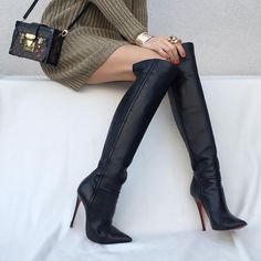 """""""Same, same but different -  #Valentino top, #LouboutinArmurabotta120mm boots and #LouisVuitton bag. #Cartier ring and bracelets.  See previous photo."""""""