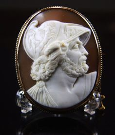 Victorian Huge Museum Quality Cameo of Menelaus in 10k Gold from vivienstreasurewonderland on Ruby Lane