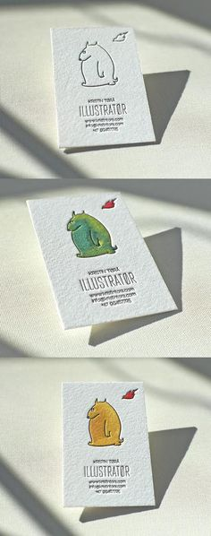 Sweetly Illustrated Letterpress And Handpainted Watercolour Business Card