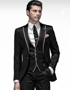 >> Click to Buy << Fashionable One Button Black Groom Tuxedos Groomsmen Mens Wedding Suits Prom Bridegroom (Jacket+Pants+Vest+Tie) NO:481 #Affiliate