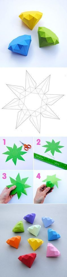 DIY Paper Diamonds - maybe spray paint metallic and glitterfy and display in a decorative bowl?