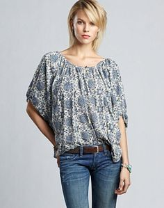 I love this John Robshaw Josephine Medallion top from Lucky Brand, especially the 3/4 sleeves -- perfect for an artist who always has her hands  in water.