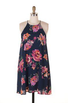 Everly Floral Print Halter Neck Shift Dress