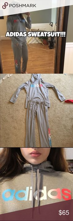 Adidas Sweatsuit Comfy Adidas sweatsuit. If you'd like to purchase separate pieces comment below. 👇🏾  Pants size: Medium Womens Sweatshirt size: Large Womens  SMOKE FREE 🚭 HOME W/ A HYPO-ALLERGENIC DOG 🐶  *All items are washed before shipment. Adidas Other