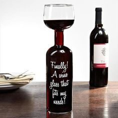 Wine Glass and Wine Bottle in One!: Finally a wine glass that fits my needs! Keep drinking until the whole bottle is empty. Now that is a great glass of wine. Pinot Noir, Whisky, Sauvignon, Household Items, Coca Cola, Whiskey Bottle, Whiskey Decanter, Just In Case, Cheers