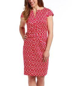 This Coral & White Arabesque Notch Neck Dress is perfect! #zulilyfinds