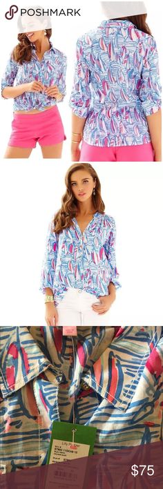 """🆕 Lilly Pulitzer Cruiser Shirt Red Right Return A womens camp shirt should be in your wardrobe. To make it your style, make it printed - like Cruiser. This casual summer shirt styles well with skirts, shorts and layered over dresses...the possibilities are endless. Fitted Shirt With Pockets And Lilly Logo Gold Buttons. Cotton Lawn - Printed (100% Cotton). Machine Wash Cold. Imported. Underarm across 20"""". Length 28"""". Brand new with tag. Retail price $108. Smoke free and pet free. Lilly…"""