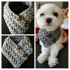 Small Dog Crocheted scarf Gray Colors fits most S by QuiltNCrochet