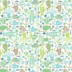My Ditsy Print Sea Creatures Top 10 Favs: I see creatures! fabric by monda on Spoonflower - custom fabric