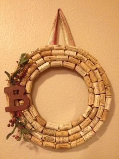 """Wine cork wreath with """"B"""" ~ I would do an """"S"""" but I could make this easily!"""